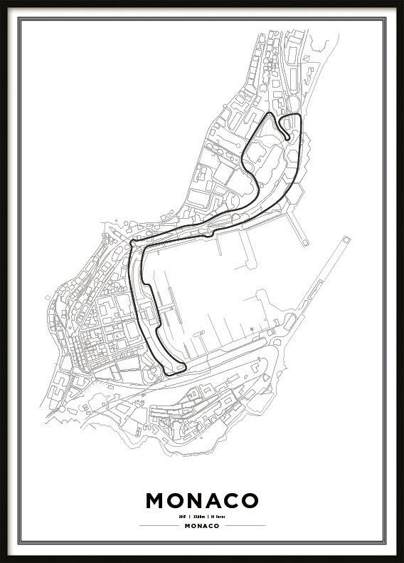 Poster, Monaco race track F1 print vit