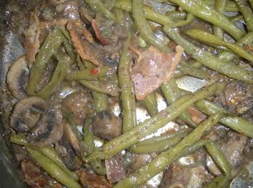 Braised Green Beans, Mushrooms and Bacon