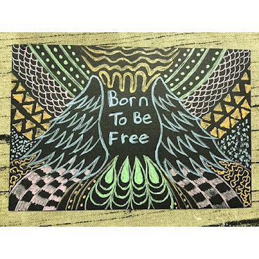 "New product! Hand drawing postcard! ""Born To Be Free"" #Winzcraft #handmade #handdrawn #postcard #graphic"