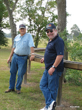 Photo: Dennis Cranston and Dennis Cody talking signals and watching trains.  HALS RPW  2009-0905