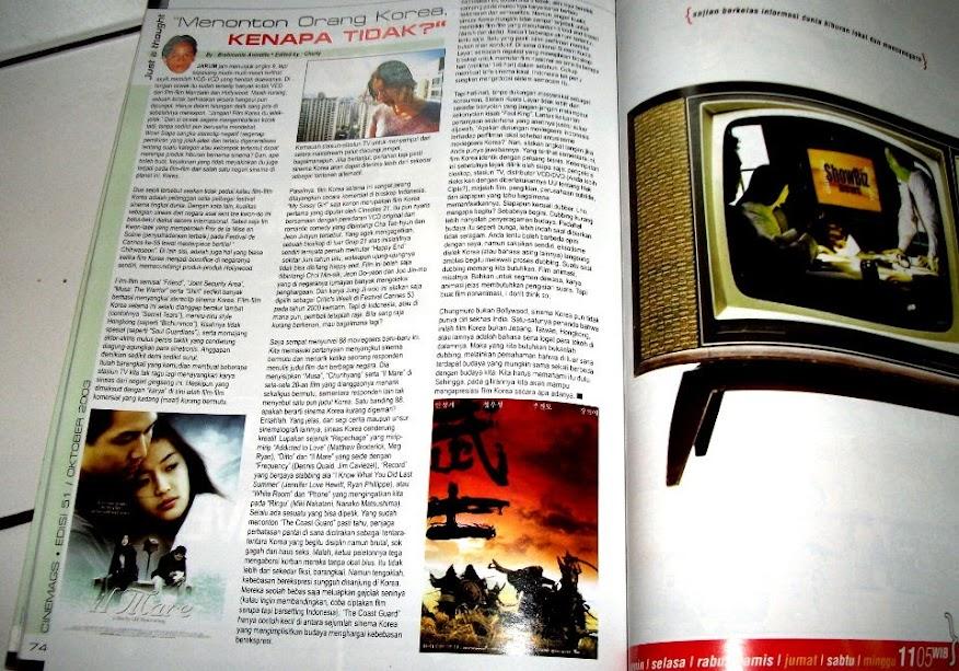 Artikel Menonton Orang Korea, Kenapa Tidak?, Majalah Cinemags edisi 51 (Oktober 2003), Rubrik Just A Thought, halaman 74