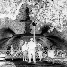 Outside Forsyth Fountain by Richard Michael Lingo - Digital Art Places ( places, forsyth park, fountains, savannah, digital art )