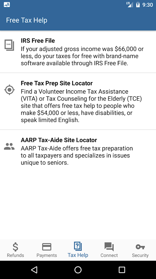 IRS2Go- screenshot