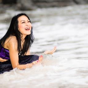 Laughing by Hendra Sulistyawan - People Portraits of Women ( laugh bikini ocean dream beauty )