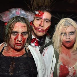 by Marco Bertamé - Public Holidays Halloween ( scary, red, woman, three, dia de los muertes, blood, man, halloween )