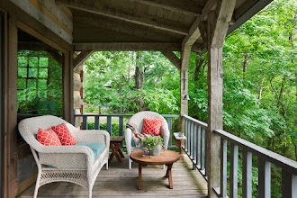 Photo: Exterior, horizontal, rear covered porch, Giles residence, Dandridge, Tennessee; Hearthstone Homes