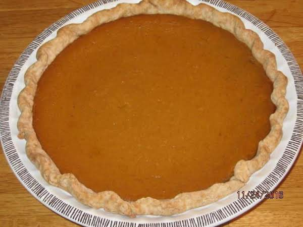 This Pumpkin Pie Was Made With Joyce's Pie Crust!  I Also Made A Mock Cherry Pie With A Lattice Top Using This Pie Crust For Thanksgiving 2016.