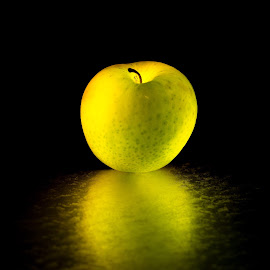 Glowing Apple by Erik Bosman - Food & Drink Fruits & Vegetables ( #reflection, #creative lighting, #glowing, #green, #glow, #artistic, #fruite )