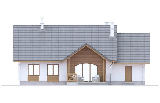 Groszek z garażem dach dwuspadowy opał stały - Elewacja tylna