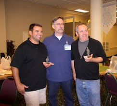 Photo: Tony Aguilar (Left) wins the Best Painted Army prize for his beautiful Qin Chinese. Terence McPartland (Right) wins the Son of Heaven trophy as event runner-up. David Kuijt (Center) the true Son of Heaven finished first overall.
