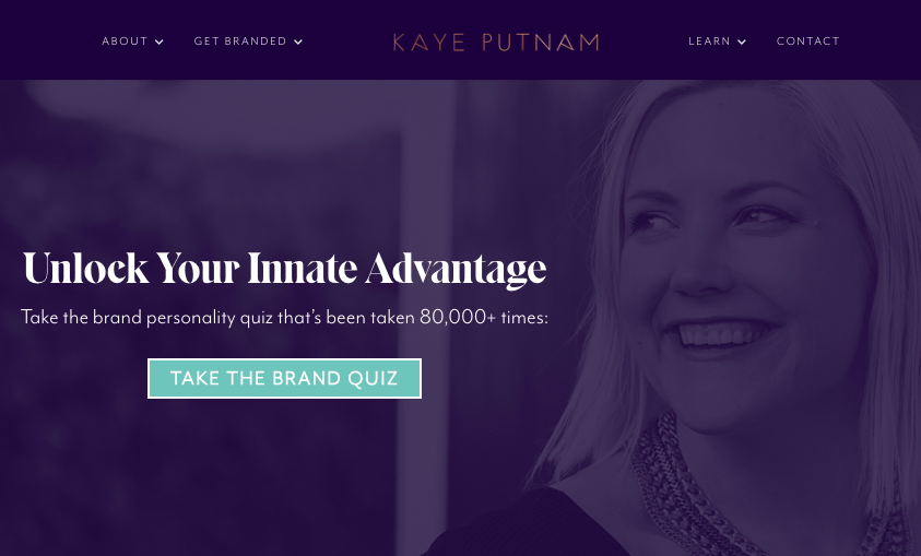Kaye Putnam home page with personality quiz CTA