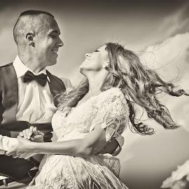 by Sasa Rajic Wedding Photography - Wedding Bride & Groom ( wedding photography, wedding photographer, bride and groom, weddings, wedding day, wedding, black and white )