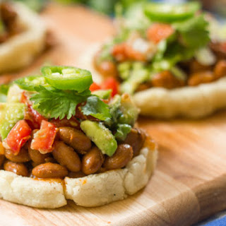 Sopes with Smoky Pinto Beans and Avocado Salsa.
