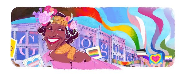 Doodle celebrating the life and legacy of US activist, self-identified drag queen, performer, and survivor Marsha P. Johnson, created by LA-based guest artist Rob Gilliam