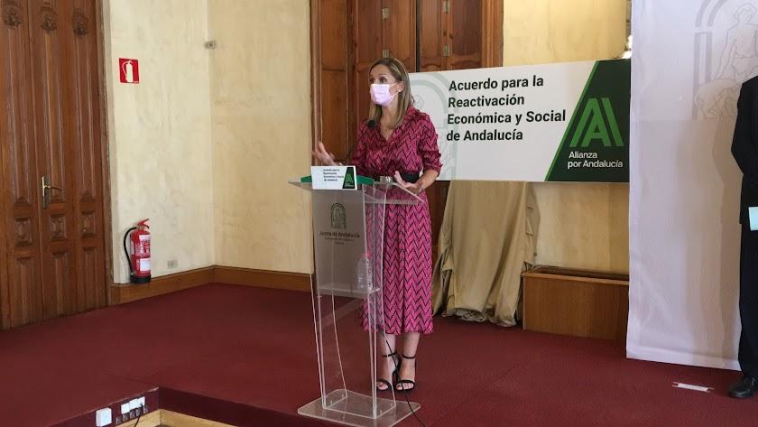 Maribel Sánchez, esta mañana en la sede de la Junta.