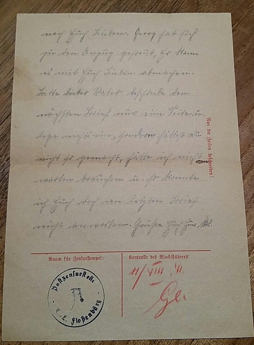 Brief aus dem Konzentrationslager Flossenbürg - 10. August 1941