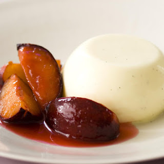 Buttermilk Puddings with Rosewater Plums