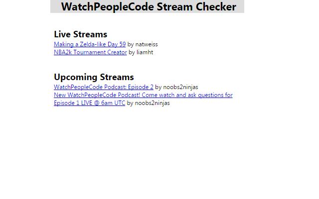 WatchPeopleCode Stream Checker