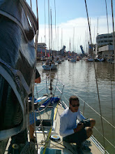 Photo: Anthony on the bow as we head out for the start of the race