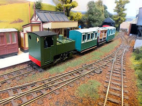 Photo: 023 The very neat little 0-4-0T loco on the passenger train has been built onto a very old Mehano chassis that was made in the former Yugoslavia some 20 or more years ago and sold very cheaply at the time. Greg's loco was running perfectly despite its vintage! .