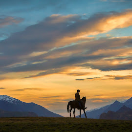 Horse Riders by Tahsin Shah - Landscapes Mountains & Hills ( pakistan, rider, mountains, sky, nature, horses, sunset, landscape )