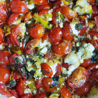 Baked Cherry Tomato, Pepperoncini, Cheese Spread for Crostini or Pasta.