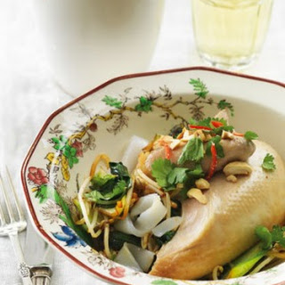 Coconut-poached Chicken With Noodles, Bok Choy And Cashews.