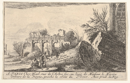 Frontispiece: a man reaches toward a fallen column, a seated man beside him, trees and ruins beyond, from the series 'Views of Italy' (Vues d'Italie)