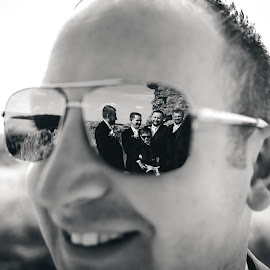 Eye of the beholder by Paul Duane - Wedding Groom ( groom, reflections, bridal party, black and white, wedding )