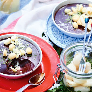 Choc Ganache Bowls With Lychees And Macadamia.