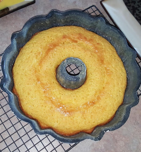 Remove from oven.  Cool as-is on wire rack for 10-15 minutes, until cake...