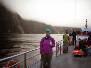 Photo: On a boat cruise in Milford Sound.  Hard to see it with this low cloud, but Milford Sound has the most stunning scenery I've ever seen.