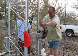 Photo: Roger (professional helper) demonstrates how cranking is good exercise... we all  took our  turn.