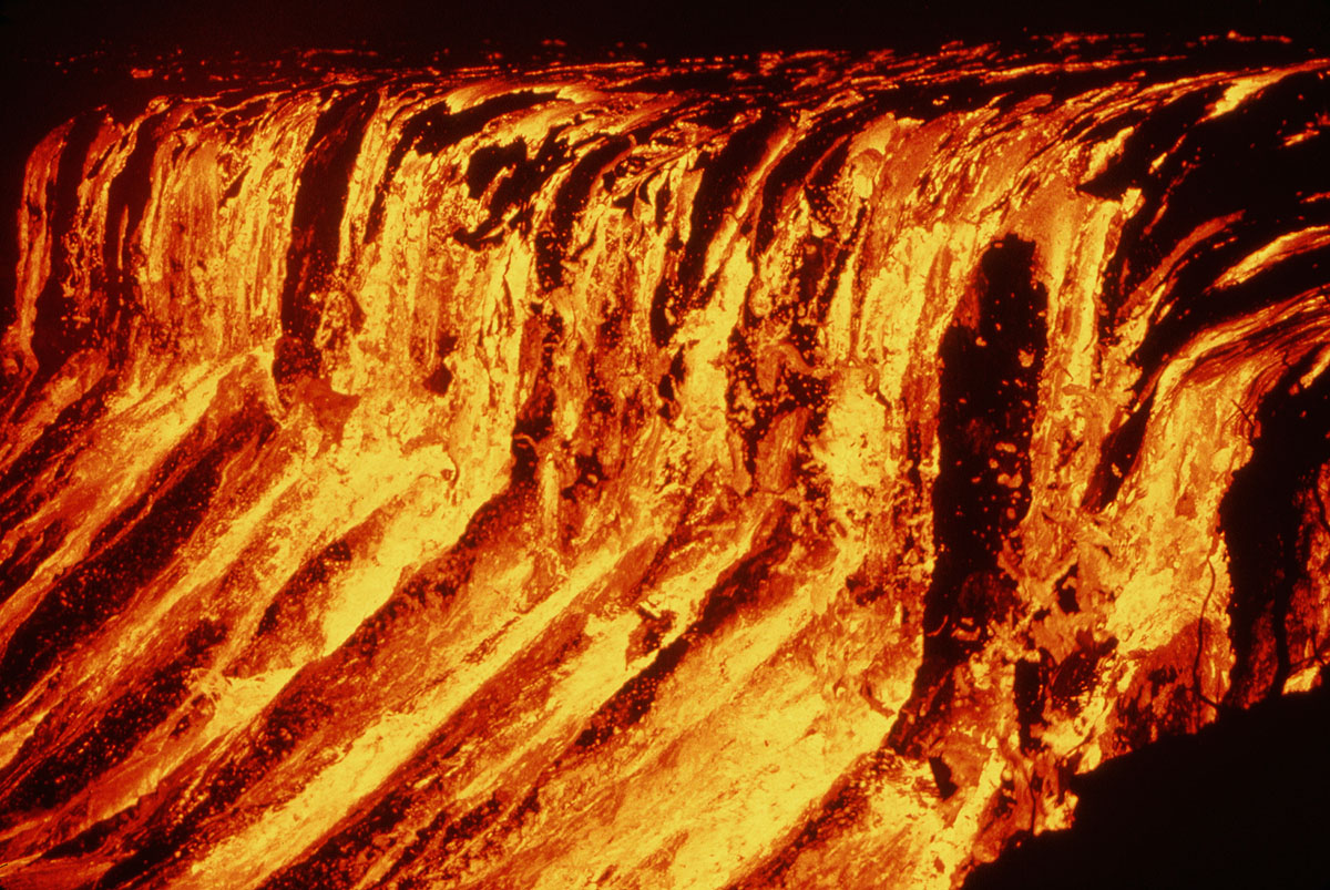 Lava fall into the Aloi Crater