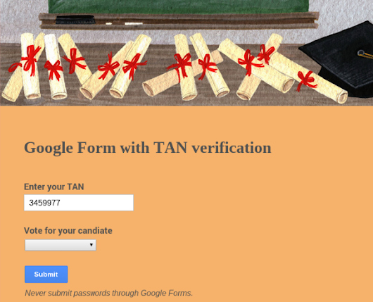 Using Google Forms with secure verification numbers