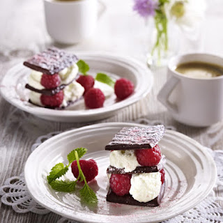 Chocolate Mint Stacks with White Chocolate and Raspberries