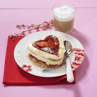 Heart-shaped Coconut and Strawberry Tiramisu