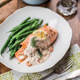 Salmon Steaks With Scotch Whiskey & Brown Shrimp Sauce.