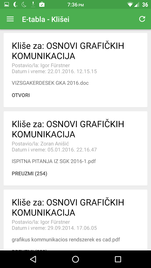 EREF Android- screenshot