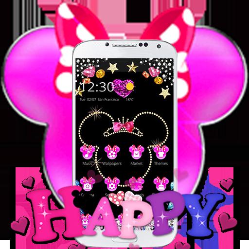 Pink Black Micky Bow Glitter Theme
