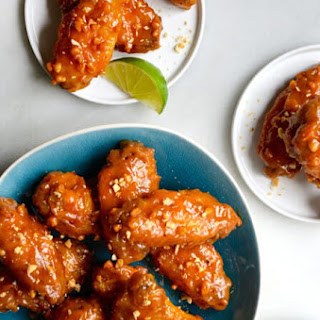 Crispy Baked Thai Chicken Wings with Peanut Sauce.