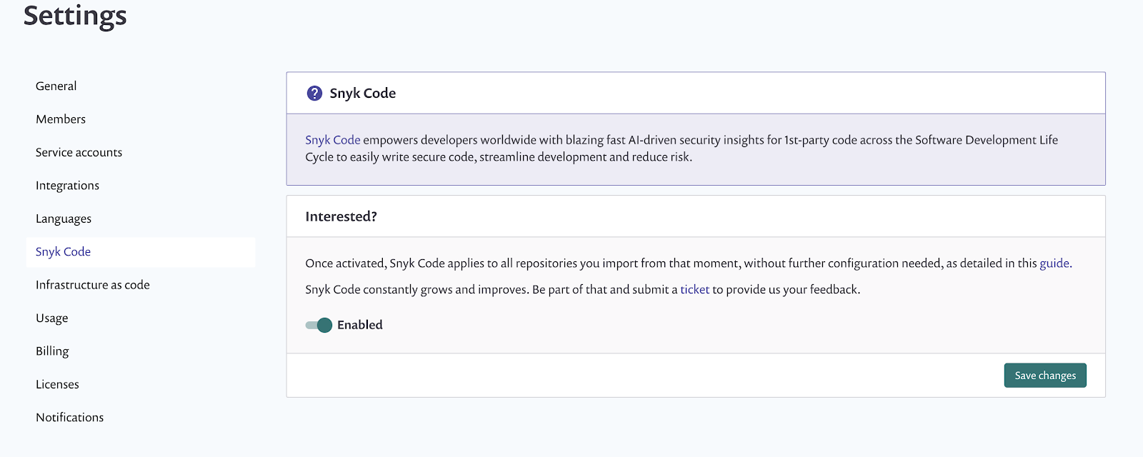 Activating Snyk Code for GitHub