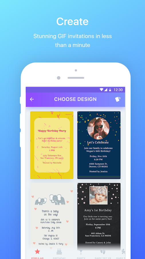 PHILDORA: GIF Invitation Maker & Party Planner- screenshot