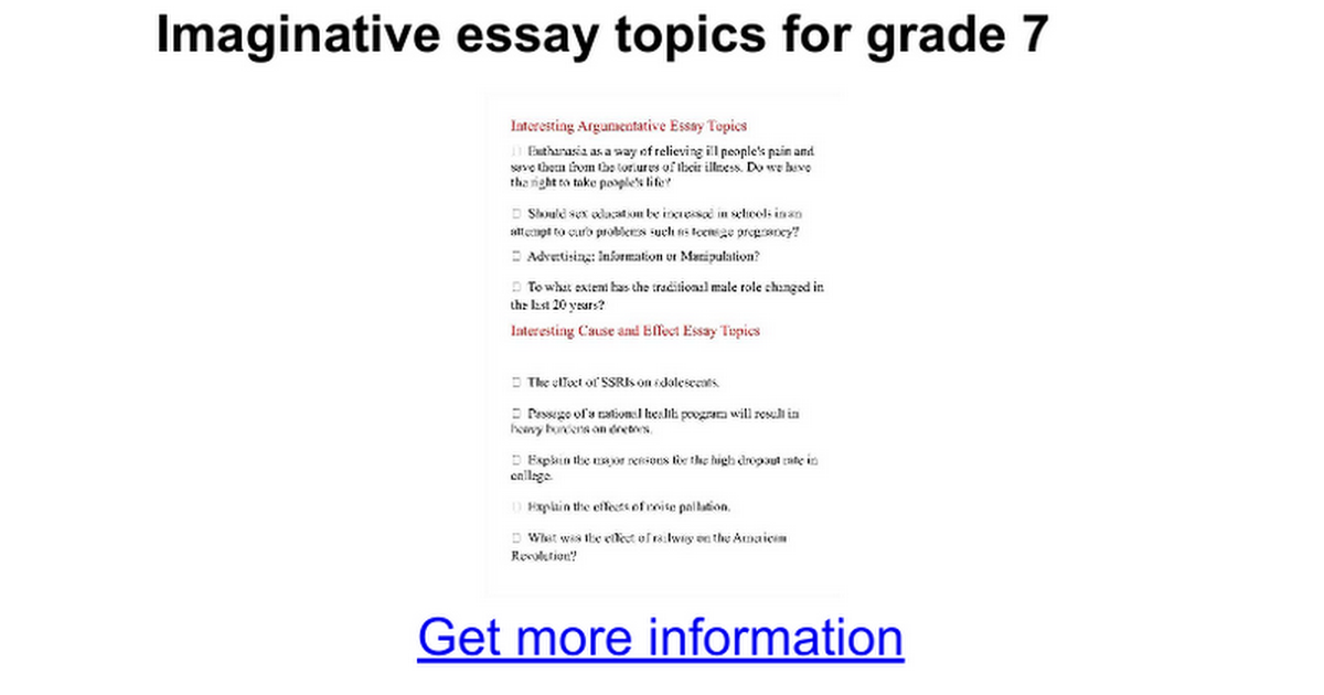 imaginative essay topics for grade google docs