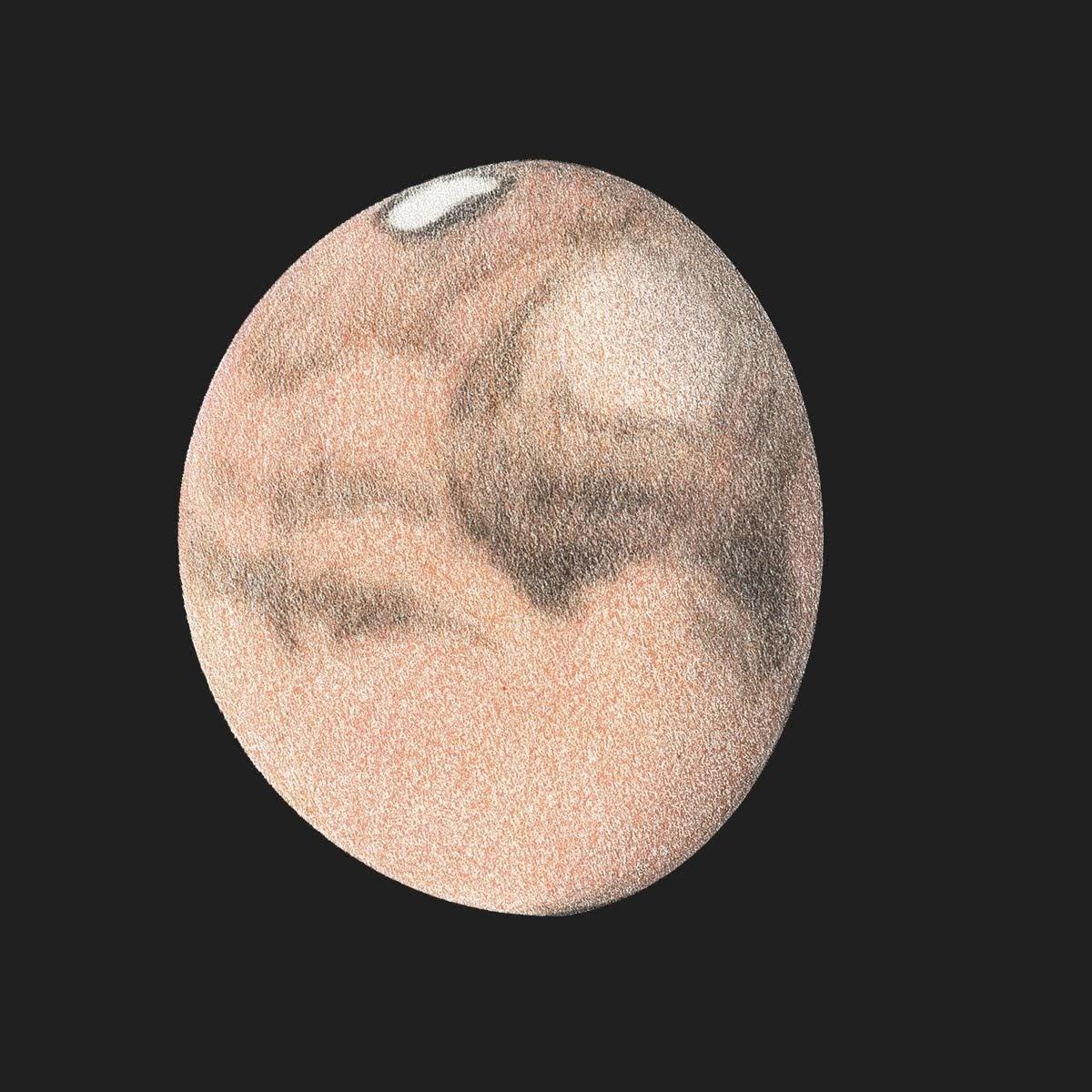 Photo: Le 21 octobre 2018 à 19H10 TU. MC=275°, taille 13'' d'arc. Déclinaison terrestre -18,2°. T406 à 600X en bino et filtre rouge RG610.