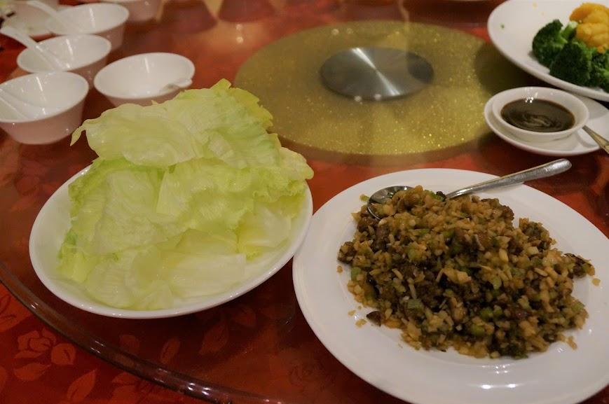 Duck meat lettuce wraps