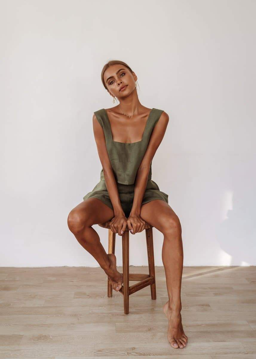 Roma Top in Sage, Florence Shorts in Sage