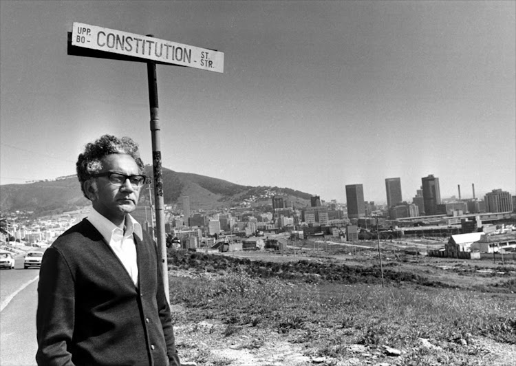 Adam Small, looking over the ruins of District Six in Cape Town in 1981. File photo