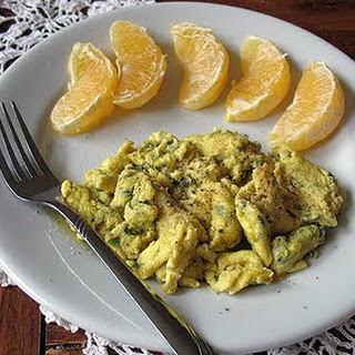 Scrambled Eggs with Garlic, Basil & Feta