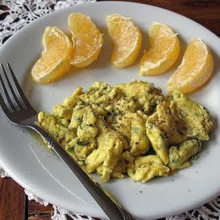 Scrambled Eggs with Garlic, Basil & Feta.